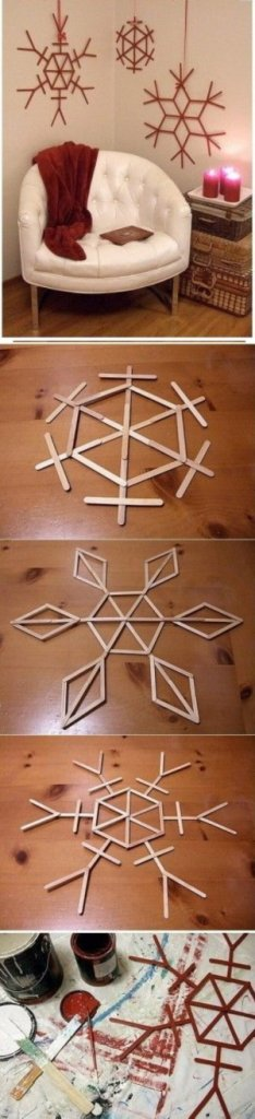 Popsicle Stick Snowflakes DIY Home Decor Ideas