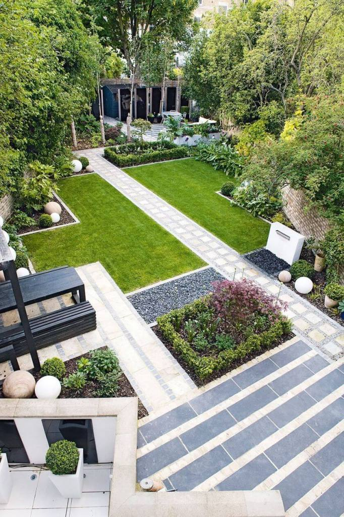 backyard landscaping ideas diagonal