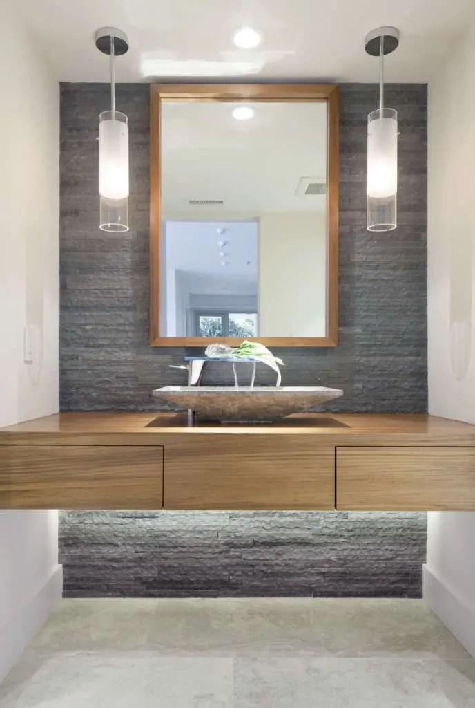 Wonderful Design bathroom shelf below mirror best of a modern bathroom with natural stone accent wall and pendant lights of bathroom shelf below mirror