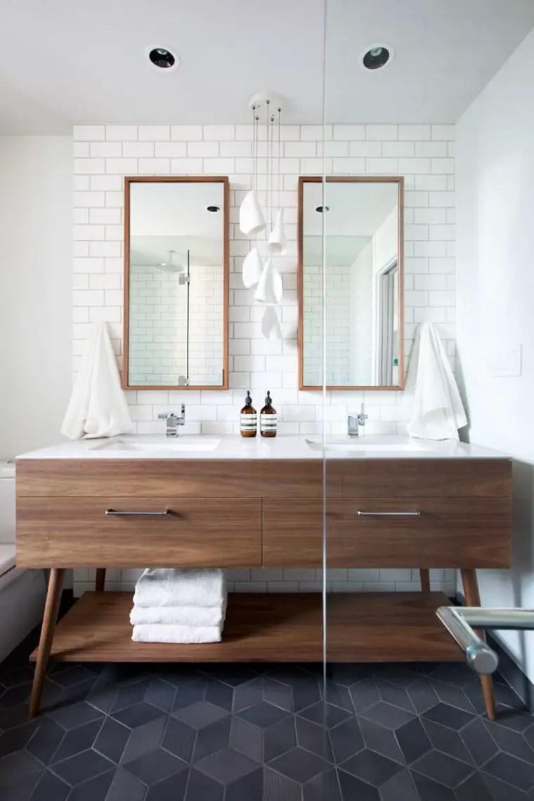 Striking Hexagonal Floor rectangular bathroom mirrors