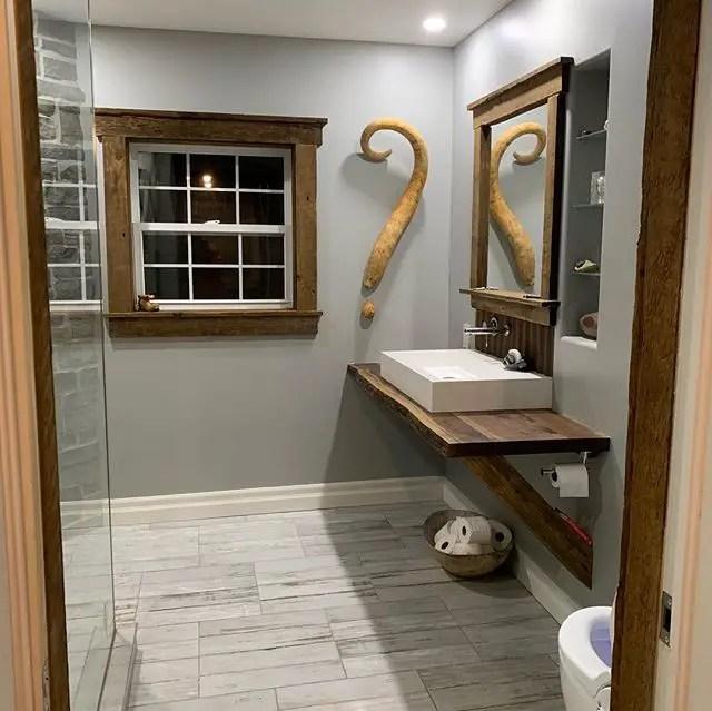 wood framed mirror for rustic bathroom decor