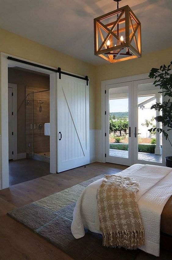 Rustic Bedroom Sliding Barn Door and Lightings