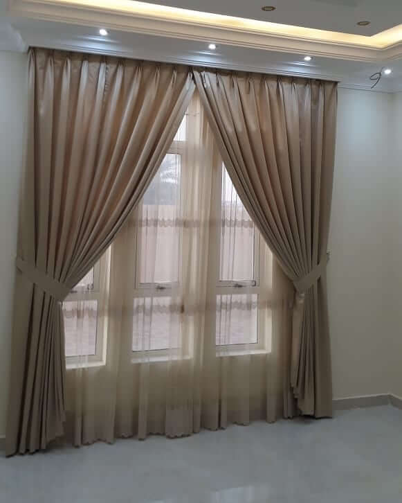 Elegant Mocha Curtain with Thin Layer