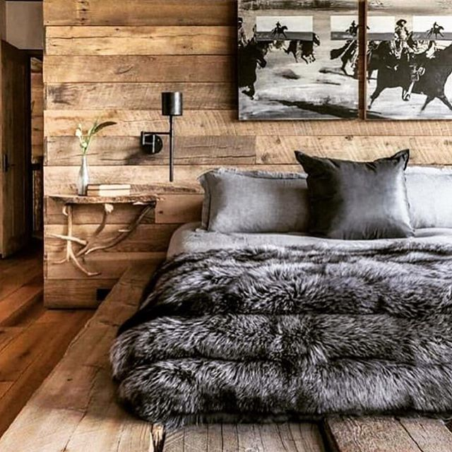 Wood Galore and Furry Bedding rustic bedroom design