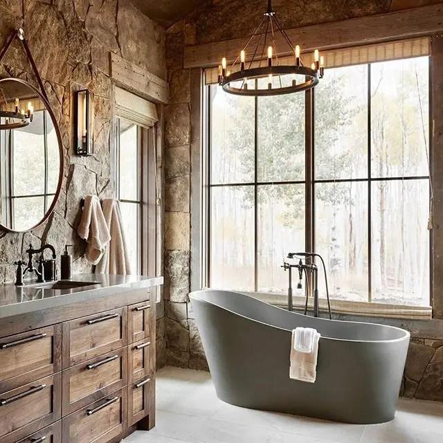 Pastoral Bathroom with Grey Bathtub