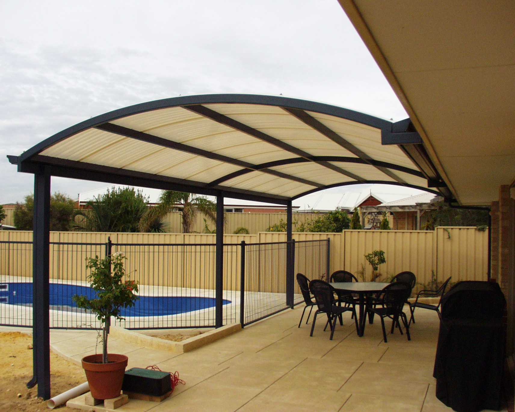 patio roof to an existing house