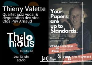 Thierry Valette Quartet (Quartet jazz vocal & wine) @ Thélonious Café Jazz Club | Bordeaux | Nouvelle-Aquitaine | France