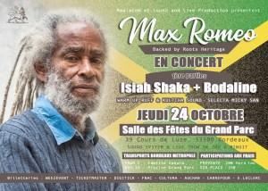 MAX ROMEO et ROOTS HERITAGE+ BODALINE+ISIAH SHAKA @ Salle des fêtes Bordeaux Grand Parc | Bordeaux | Nouvelle-Aquitaine | France