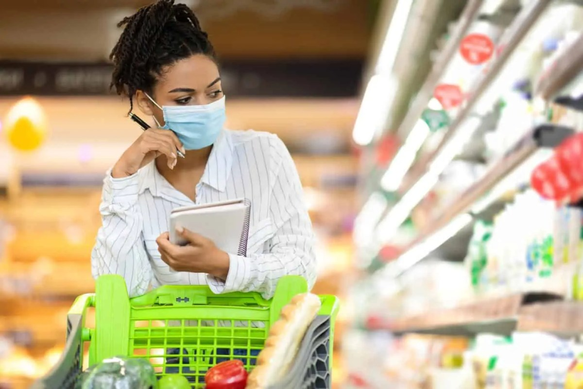 Female Buyer Doing Grocery Shopping Calculating Food Prices In Supermarket