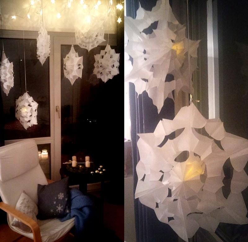 Sterne aus Butterbrotpapier
