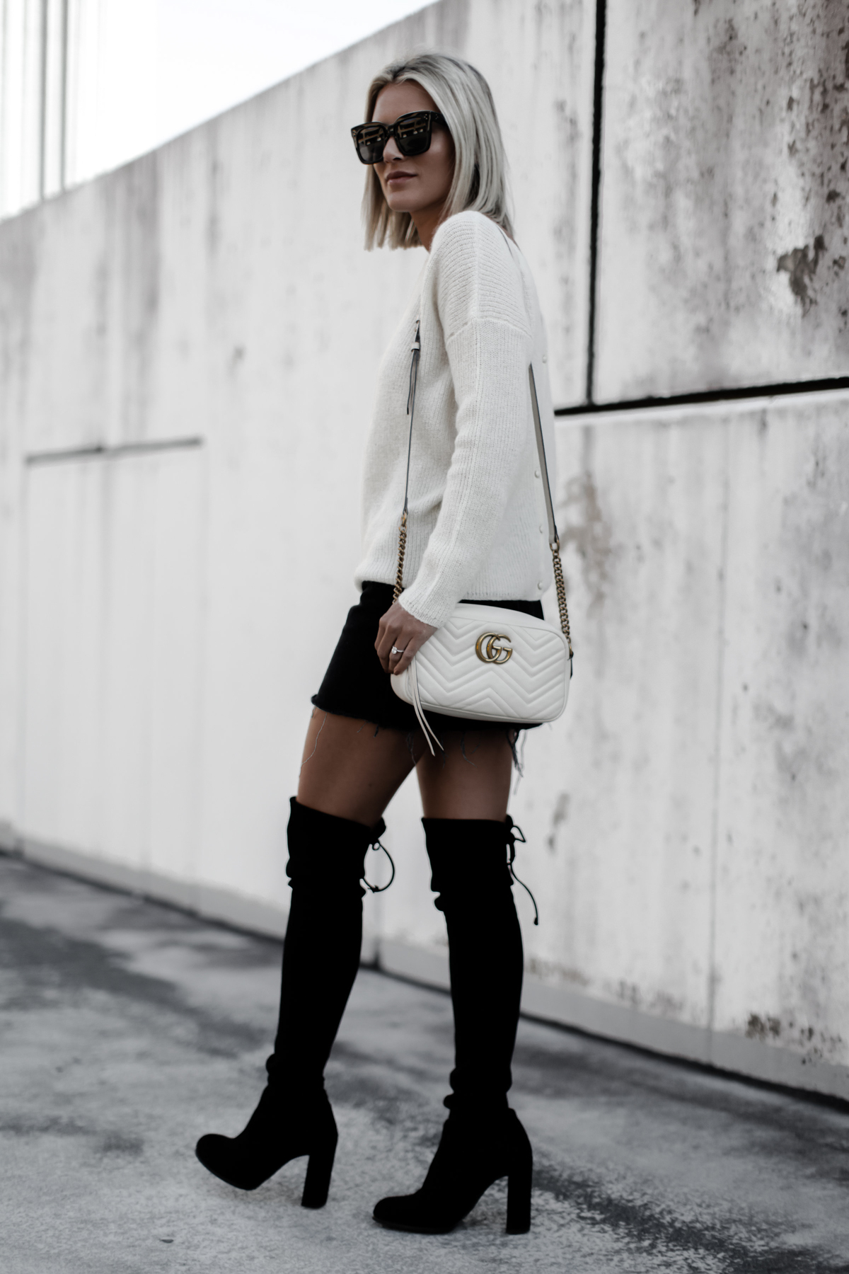 A cute cream sweater outfit for Fall on blogger So Sage
