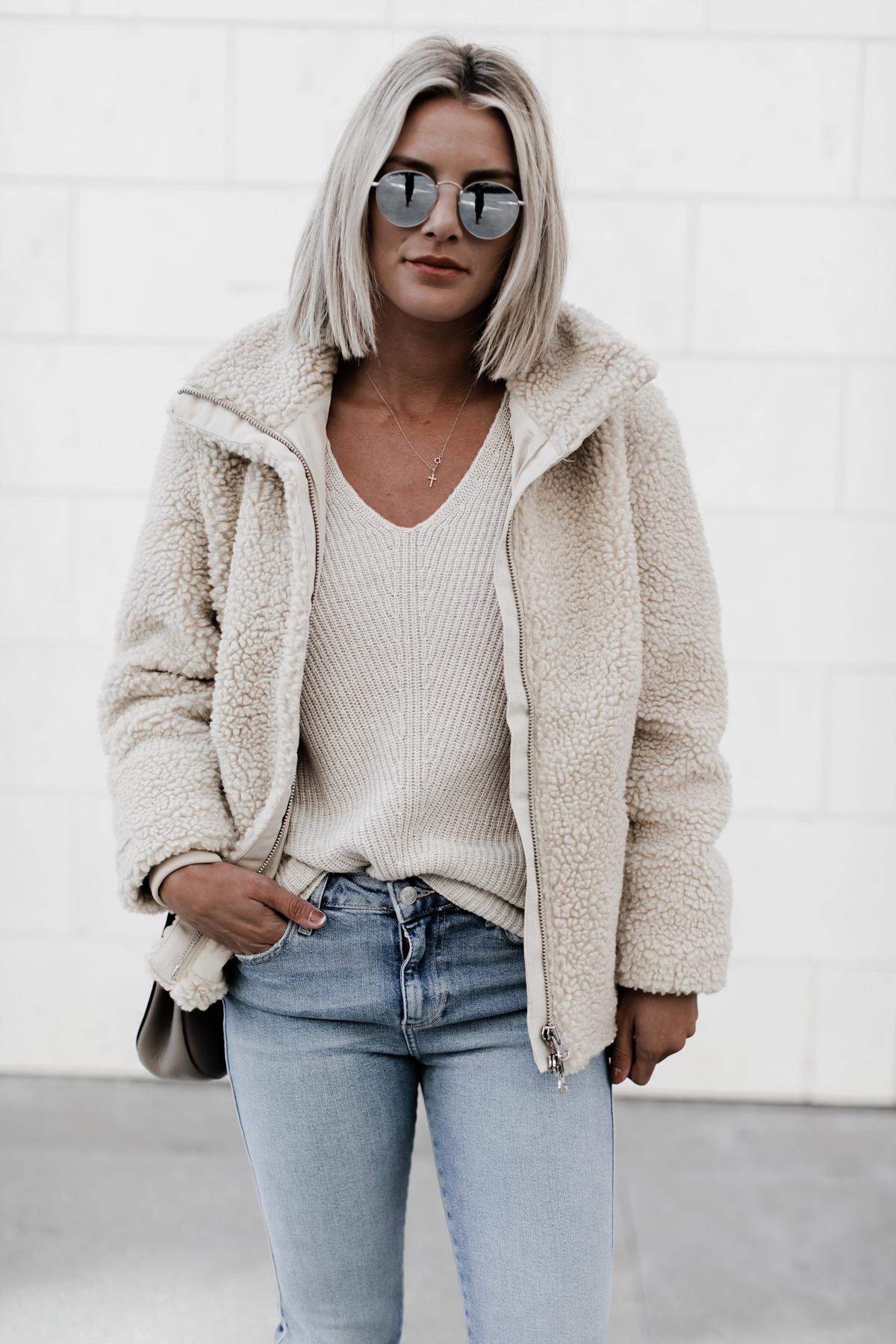 H&M Pile jacket on blogger So Sage