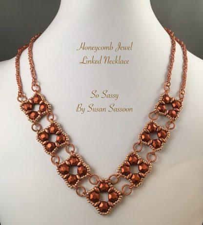 Honeycomb jewel links necklace