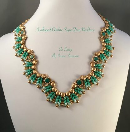 Ombre Scalloped SuperDuo Necklace Turquoise