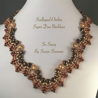 Ombre Scalloped SuperDuo Necklace Bronze