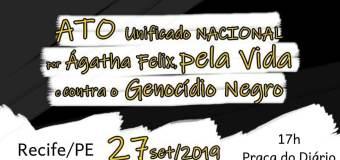 Recife participa do ato unificado nacional pela vida e contra o genocídio do povo negro