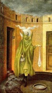 Mujer saliendo del psicoanalista, Remedios Varo