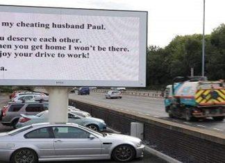 En utro ektemann må ha satt kaffen i halsen når han så DETTE skiltet på vei til jobb!