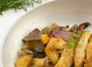 Pollo speziato con Verdure al forno
