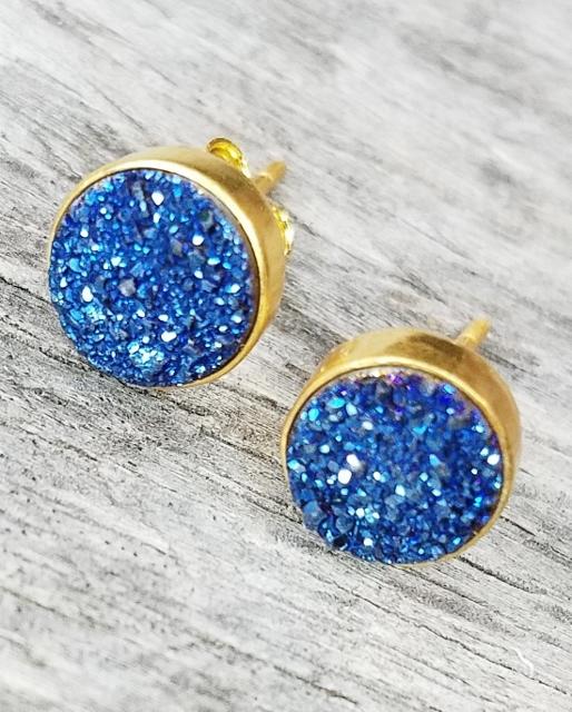 Drusy Quartz Earrings Gold Stud Druzy Studs Drusy Quartz