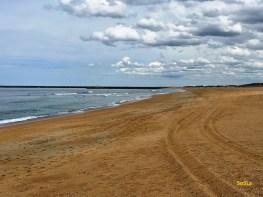 Plage de l'Océan, marée basse, 100 de coefficient de marée, aucun banc ne découvre...