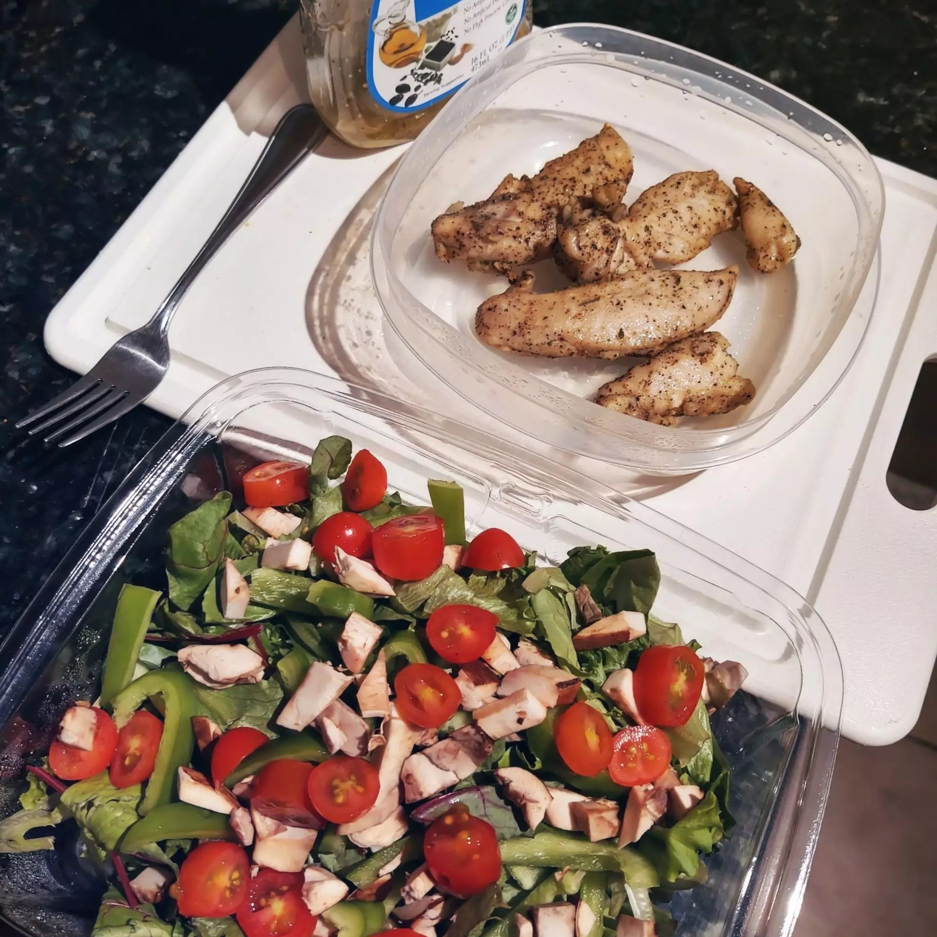 Prepared ingredients for a chicken salad - including the brand of salad dressing I use.