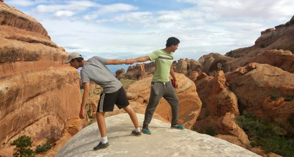 Boys hiking in canyons
