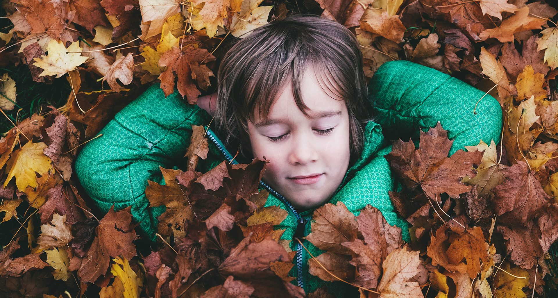 Boy sleeping in pile of fall leaves