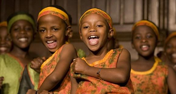 African girls and boys choir singing