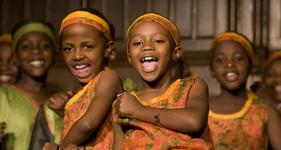 African girls and boys choir singing
