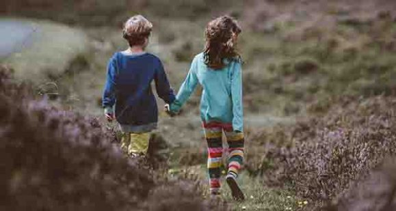Kids friends walking together
