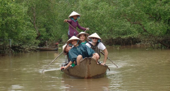 On a sampan in the Mekong river