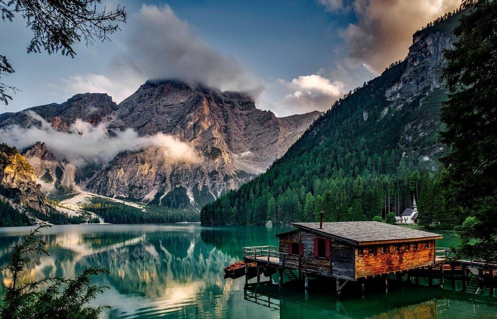 italy, mountains, pragser wildsee