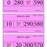 Bingo ABN: Cartones Resta Fase 15