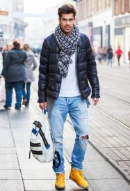 with-printed-scarf-white-shirt-distressed-jeans-and-yellow-boots