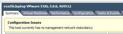 This host currently has no management network redundancy.