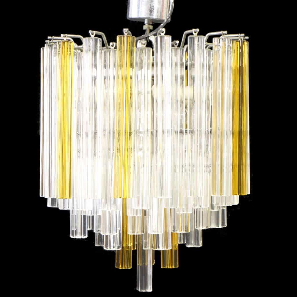 Lampadario anni 60 modernariato/design vistosi/murano. Lampadario Vintage Anni 60 70 Vetro Artistico Murano Trasparente E Giallo Ambra Tipo Venini Quadrilobo Sostenibile