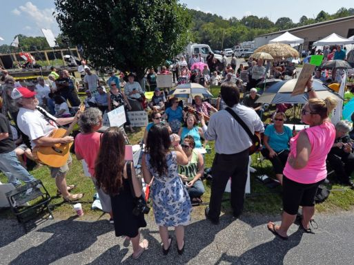 Musicians lead protesters in hymns outside the Carter County Detention Center in Grayson, Ky. on Sept. 8, 2015.
