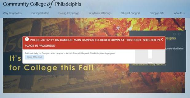 Community College of Philadelphia is on lockdown Tuesday morning after a report of a person with a gun on the campus. Photo credit: Community College of Philadelphia