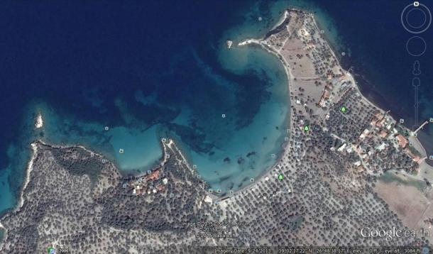Google Earth image shows the general vicinity of the islands, near Bademli Village in Turkey on the Aegean Sea. Google Earth image shows the general vicinity of the islands, near Bademli Village in Turkey on the Aegean Sea.