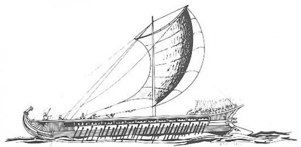 Greek trireme, drawing by F. Mitchell; note the battering ram on the prow to the right at the waterline. (Wikimedia Commons)
