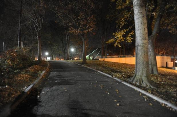 This is the pathway (leading to the bandshell) at the northern end of the park where a maniac raped a woman on Wednesday.