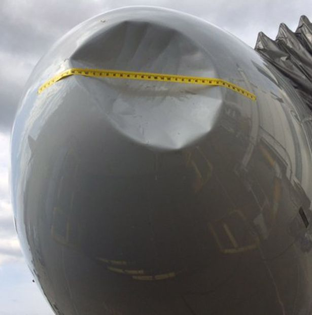 The huge dent was left after the plane hit a bird