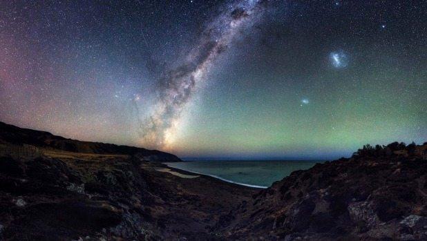 The Milky Way over the Wainuiomata coast near Baring Head.
