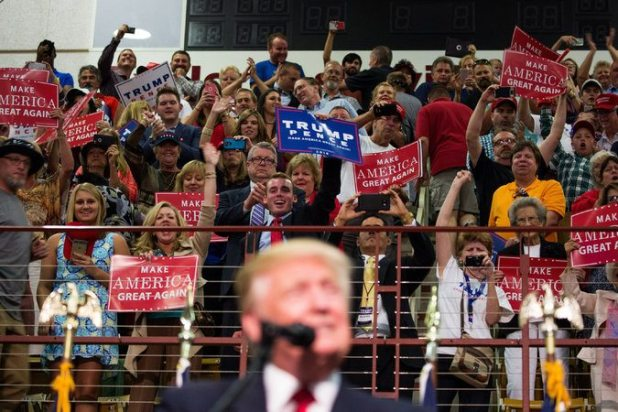 Supporters of Mr. Trump at an event on Monday evening in Asheville, N.C. Damon Winter/The New York Times