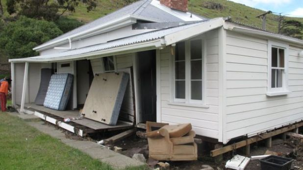 The quake generated a tsunami and an evacuation of coastal areas. The tsunami didn't cause serious damage, except to one area called Little Pigeon Bay on Banks Peninsula, said Geonet. This unoccupied house was wrenched off its foundations by waves up to 4.1m above sea level.