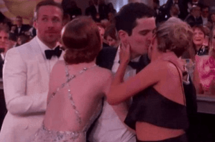 Emma Stone's Awkward Hug Fail Wins The 2017 Golden Globes