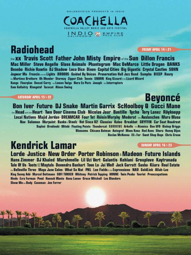 Beyonce, Radiohead, Kendrick Lamar to Headline Coachella 2017