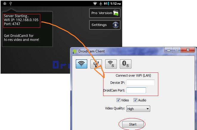 Connexion DroidCam PC - Android
