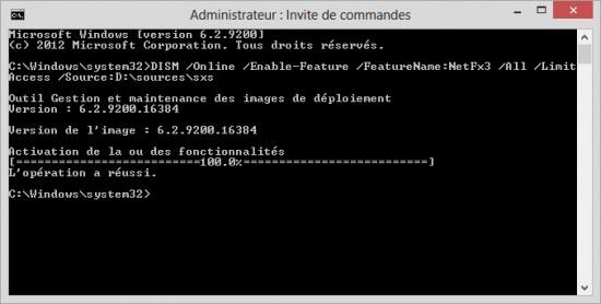 Installation Console CMD Net Framework 3.5 Télécharger NET Framework 3.5 Complet – Offline Setup pour Win10/8